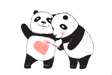 Panda Bear Drawing Love Heart. Two cute pandas drawing a heart shape on the belly.