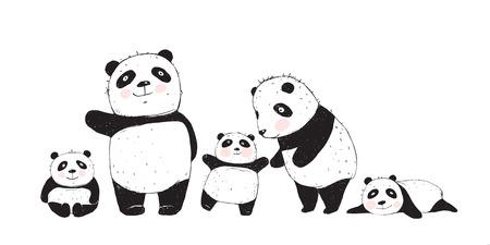 Cute Panda Bears familia, madre padre e hijos aislados. Ilustración de vector