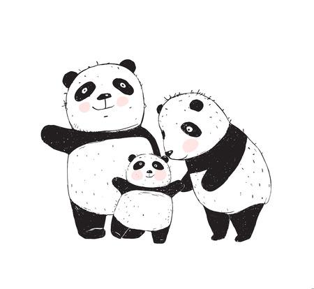 Familia de tres padres lindos pandas y un niño.