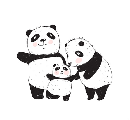 Family of three cute pandas parents and a kid. Illustration