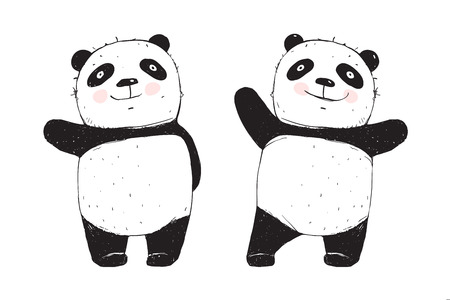 Cute panda character cartoon isolated on white.