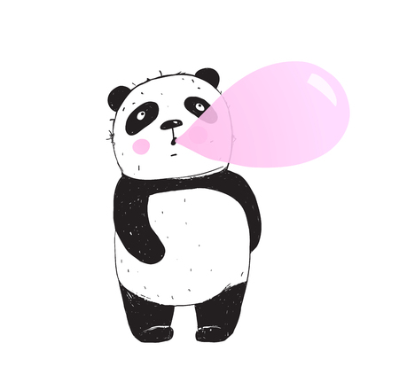 Cute Panda bear shewing gum and making bubble.