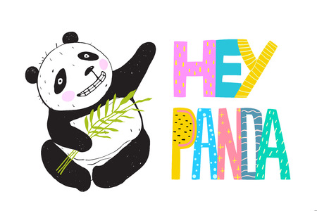 Panda bear sitting with bamboo leaves greeting. Stock Illustratie