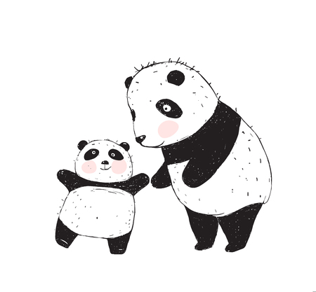 Panda bears cartoon of mother and little kid.