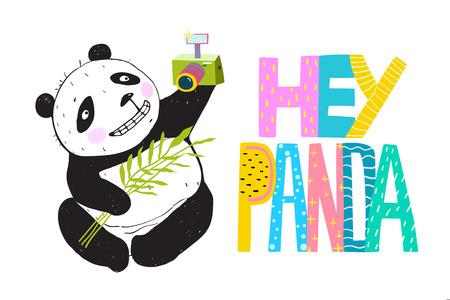 Hey Panda Selfie cartoon and lettering design. Vector Illustration