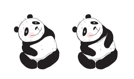 Panda cute bear sitting and smiling happy.