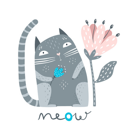 Cute pet kitten sitting with flower saying meow. Illustration