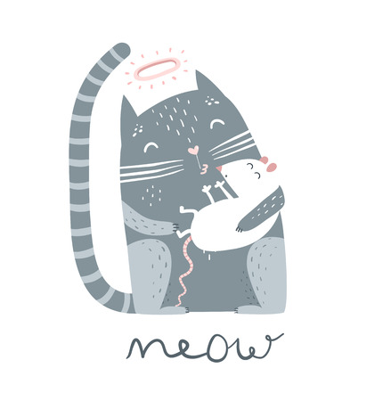 Cute pet kitten sitting with mouse and meow lettering.