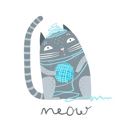 Cute pet kitten sitting with woollen yarn. Illustration