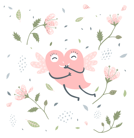 Adorable heart character flying with isolated flowers.