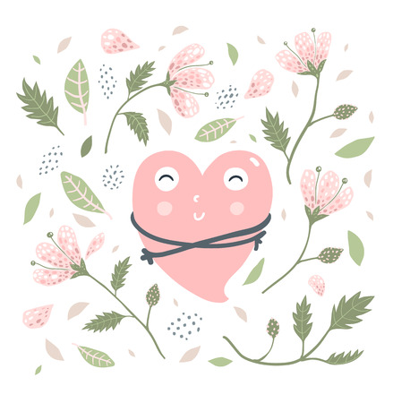 Cute heart character hugging with flowers collection print design. Illustration