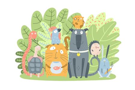 Animaux domestiques mignons assis ensemble dans la nature