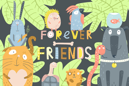 Animals in nature design with lettering forever friends. Stock Illustratie