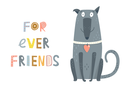 Cute devoted dog sitting graphic cartoon illustration. Stock Illustratie