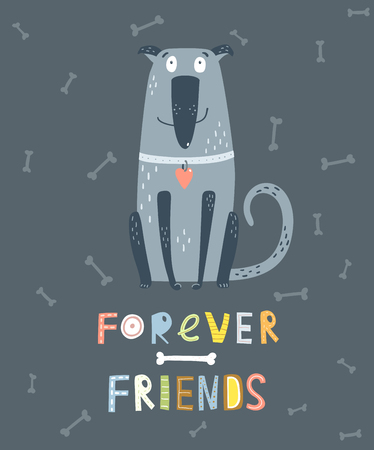 Dog Sitting with bones dark background and hand drawn lettering forever friends. Stock Illustratie