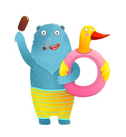 Funny bear and duck float donut for swimming in summer cartoon. Ilustração