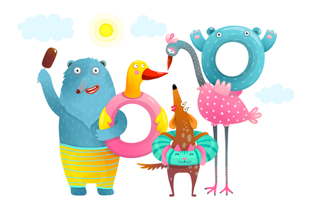 Funny animals with swimming donuts for summer holiday. Ilustração
