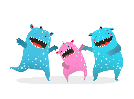 Cute Family of Kids Monsters Playing Laughing son mother and father.