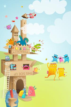 Paper castle made of cardboard for children game event. Stock Illustratie