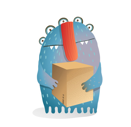 Delivery funny moster fictional cartoon character in watercolor style.