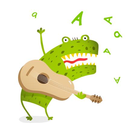 Monstruo divertido tocando la guitarra y cantando. Historieta linda de la música para los niños.
