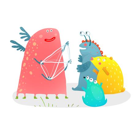 Divertido personaje de monstruo contando una historia con cuerdas en las manos para niños. Ilustración de vector