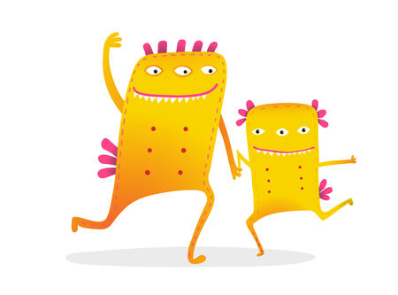 Funny monster kids cartoon with dancing playing together monsters.