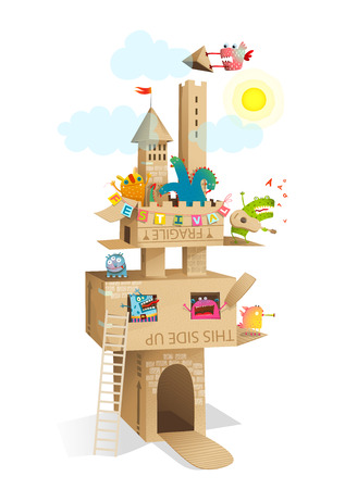 Funny fairy tale paper craft castle made of cardboard with fun monsters festival.