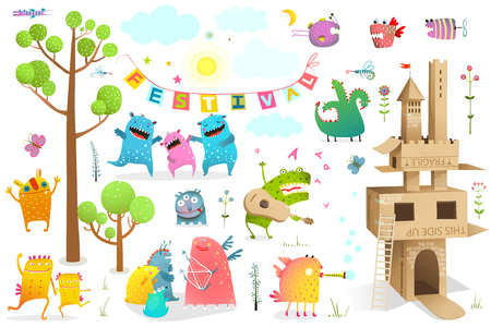 Funny fairy tale event for kids playing game with cardboard castle clip art.