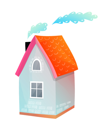 Cute small cottage house hand drawn adorable design isolated on white. Illustration
