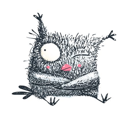 Funny kids owl character pencil style hand drawn, scratchy scribble doddle.