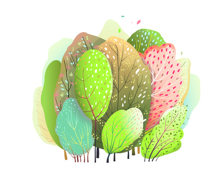Cute Colorful trees and bush woodland watercolor design. Ilustração