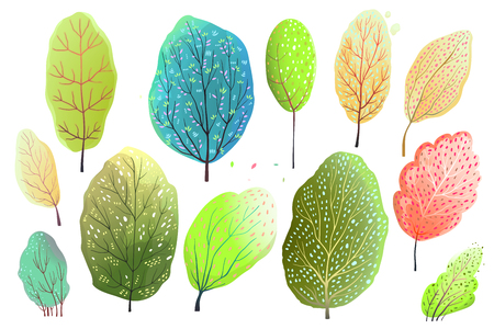 Hand drawn watercolor style set of abstract Trees, or leaves.