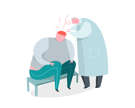 Brain surgery or psychiatrist doctor healing man brain.