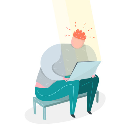 Fat man sitting in front of computer alone with bad emotion. Flat vector concept.