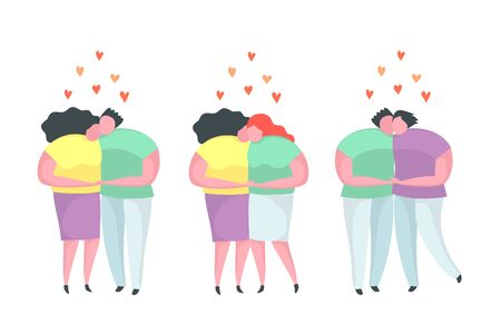 Couples in love flat vector characters set