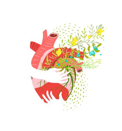 Floral Healthy heart abstract flat vector illustration