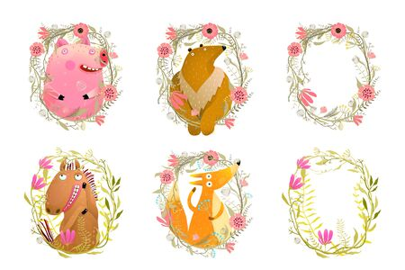 Wild mammals in floral frames flat vector illustrations set. Horse, fox, pig and bear cartoon characters with funny faces. Wildflowers and poppies wreaths. Leaves and twigs empty borders