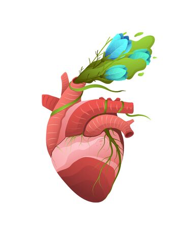 Plants growing and flowers blooming in human internal organ surreal illustration. Healthy organ metaphor. Medicine and healthcare logo. Healthy lifestyle result