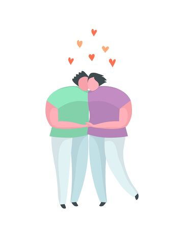 Gay couple hugging kissing flat icon or emblem Illustration