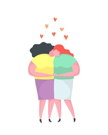 Lesbian Love Couple Kissing Hugging Homosexual Flat Design