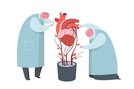 Scientists growing artificial human organ cartoon characters. Life support, heart implant creating metaphor. Medics making scientific experiment, transplantation surreal drawing. Science future Illustration