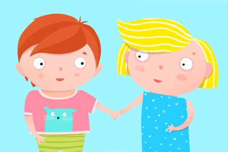Cute Kids Nursery Poster Design Brother and Sister Holding Hands Ilustrace