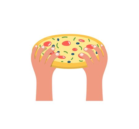 Two Hands Holding Pizza Flat Cartoon Icon