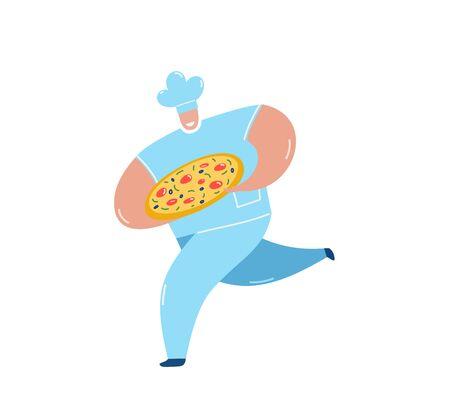 Chef che porta pizza in esecuzione piatta illustrazione vettoriale