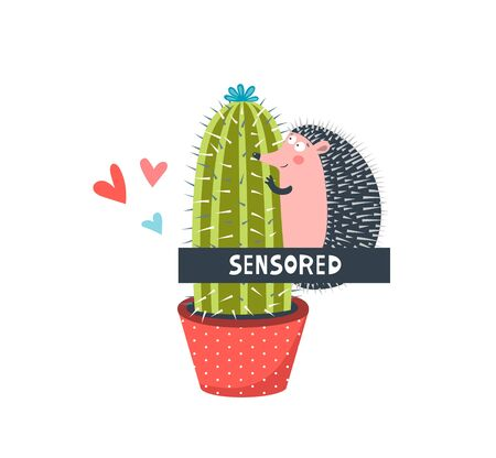 Censored hedgehog in love flat vector illustration