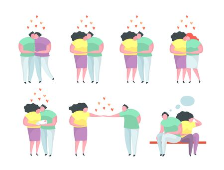 Traditional and Gay and Lesbian Couples relationship man and woman. Different relationship dating people characters, hugs, kisses, proposal, gay and lesbian relations. Flat isolated clip art. Illustration