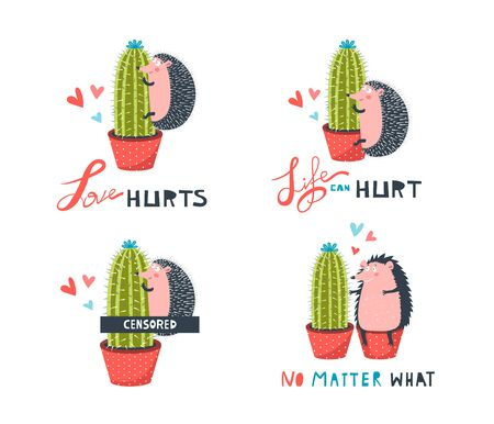 Hedgehog and Cactus Cute Funny Couple Collection. Cute and funny animal hedgehog and prickly plant cactus making love together. Strange affection of cruel love. Fun t-shirt print design, comic and colorful. Vector isolated clip art. Ilustrace
