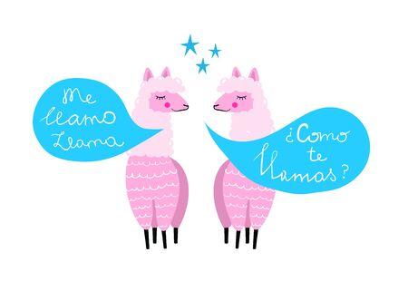 Two Llamas talking hand drawn colorful print design