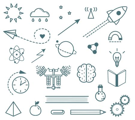 Scientific research outline icons set hand drawn isolated objects Ilustrace